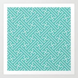 Lattice - Turquoise Art Print