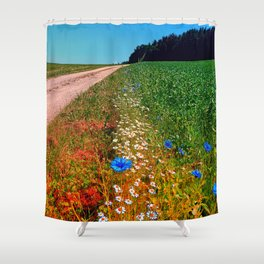 Summer flowers along the trail Shower Curtain