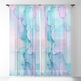 Alcohol Ink - Pastel Clouds Sheer Curtain