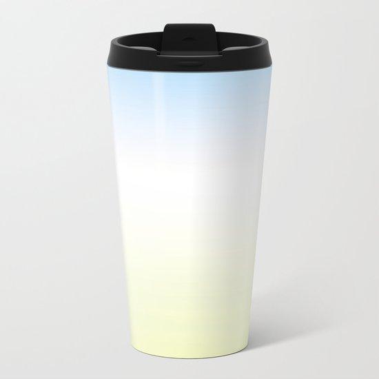 Blue White Yellow Gradient Metal Travel Mug