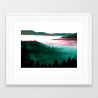 mountains Framed Art Prints featuring Misty Mountains Morning : Magenta Mauve Teal by 2sweet4words Designs