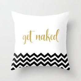 Get Naked, Black and White Chevron Throw Pillow