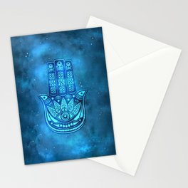 Hamsa Hand Magic Eye Blue Watercolor Art Stationery Cards