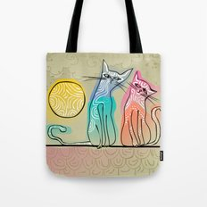 cute cats in love sitting on a roof Tote Bag