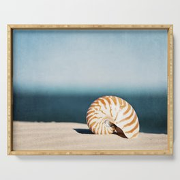 Seashell on Beach Photography, Nautilus Shell Coastal Photograph, Blue Orange Beach Landscape Serving Tray