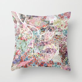 Grenoble map Throw Pillow