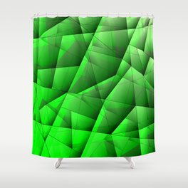 Abstract pattern of green and glowing plates of triangles and irregularly shaped lines. Shower Curtain
