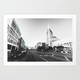 Downtown Nashville in 3D black and white Art Print