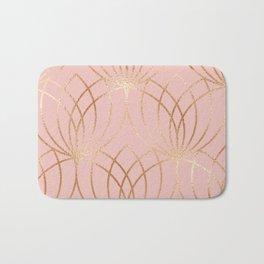 Rose gold millennial pink blooms Bath Mat