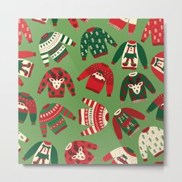 Ugly Christmas Sweaters Pattern Metal Print
