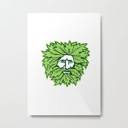 Green Man Front Isolated Metal Print
