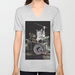 Drumming Drummer Cat Unisex V-Neck