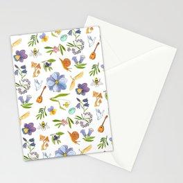 Blue Floral Pattern Stationery Cards