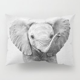 Baby Elephant - Black & White Pillow Sham