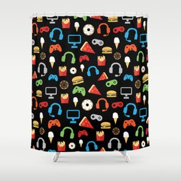 Video Game Party Snack Pattern Shower Curtain