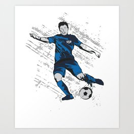 US USA America Hand drawn Soccer Player Futbol product Gift Art Print