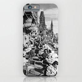 retro b/w Berlin travel poster iPhone Case