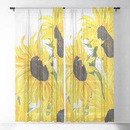 sunflower watercolor 2017 Sheer Curtain