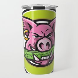 Wild Pig Biting Pickle Circle Mascot Travel Mug