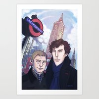 johnlock Art Prints featuring London Johnlock by enerjax
