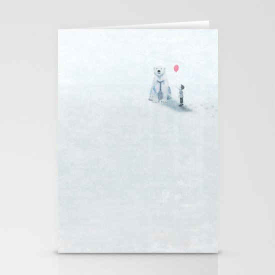The boy and the bear Stationery Cards