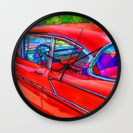 Vintage red retro car Wall Clock
