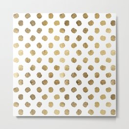 Luxurious faux gold leaf polka dots brushstrokes Metal Print