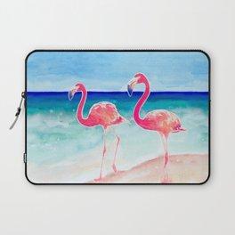 Flamingo Beach - tropical pink flamingos   ocean   resort   seaside   summer Laptop Sleeve