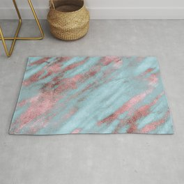Rose Gold Veins on Faux Aqua Marble Rug