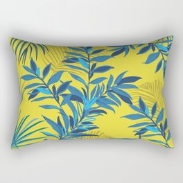 Tropical Blues Exotic Jungle Foliage Pattern Rectangular Pillow
