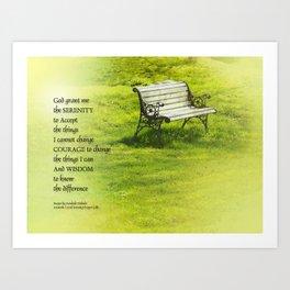 Serenity Prayer Bench Art Print