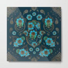 Hamsa Hand -Hand of Fatima Floral Ornament Metal Print