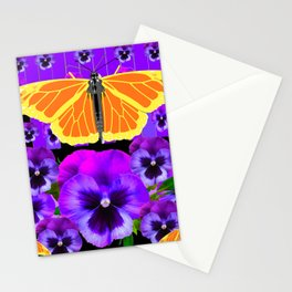 GOLDEN MONARCHS & PURPLE PANSIES  BLACK ART Stationery Cards