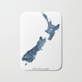 New Zealand Map Blue Watercolor by Zouzounio Art Bath Mat