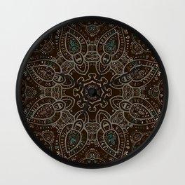 Earth Tones Paisley Mandala Wall Clock