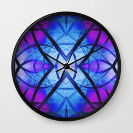 Futuristic Abstract Art Blue and Purple Wall Clock