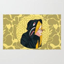 Bape Smoking Girl Yellow Rug