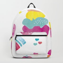 Sweet candy summer water melon ice cream and strawberry watercolor Backpack