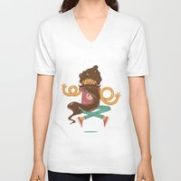 zen V-neck T-shirts featuring Zen by carvalhostuff