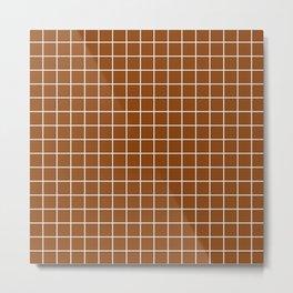 Saddle brown - brown color - White Lines Grid Pattern Metal Print