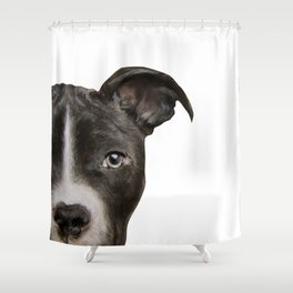 Pitbull Dark brown Dog illustration original painting print Shower Curtain