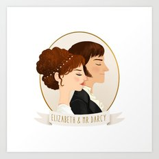 Elizabeth and Mr Darcy Art Print