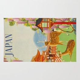 Vintage Mid Century Modern Japan Travel Poster Deer Red Pagoda Wisteria Garden Rug