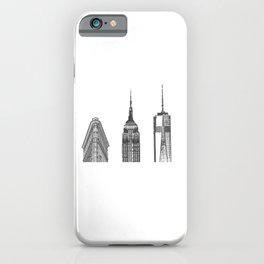 New York City Iconic Buildings-Empire State, Flatiron, One World Trade iPhone Case