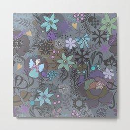 Colorful grey xmas pattern Metal Print
