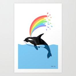 Killer Whale Blows Rainbow Art Print