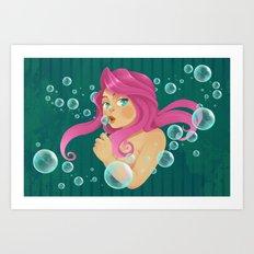 Pink & Bubbling Art Print