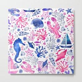Hand painted blush pink blue watercolor nautical sea pattern Metal Print