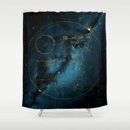 Voyager and the Golden Record - Space | Science | Sagan Shower Curtain