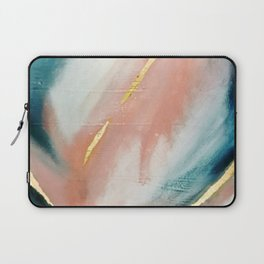 Celestial [3]: a minimal abstract mixed-media piece in Pink, Blue, and gold by Alyssa Hamilton Art Laptop Sleeve